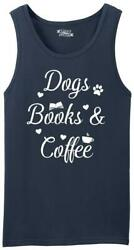 Mens Dogs Books and Coffee Tank Top Puppy Reader Caffeine Dog Lover $8.99
