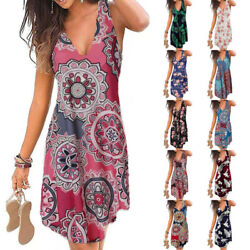 Summer Womens V Neck Sleeveless Floral Print Wrap Dress Casual Loose Short Dress $14.34