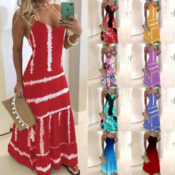 Women Slim Evening Party Long Wrap Dress Casual Print Suspender Dress Ball Gown $14.34