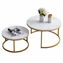 2Pcs Nesting Coffee Table Sets Golden Metal Frame with Marble Color Circle Table $168.00