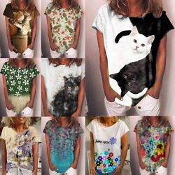Women Casual Short Sleeve Crew Neck T Shirt Summer Floral Top Loose Blouse Tunic $13.93
