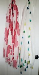 NWT Lot of TWO Large Scarves Swim Suit Bathing Cover Up Tassels Cactus FUN $19.99