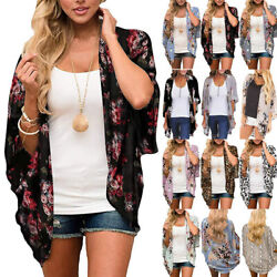Summer Women Floral Chiffon Loose Shawl Kimono Cardigan Blouse Beach Tunic Tops $14.34