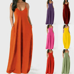Summer Women Casual V Neck Sleeveless Long Dress Pocket Loose Party Maxi Dress