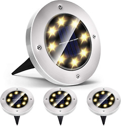 8 Pack Solar Ground Lights8 Led Bulbs Bright Right Outdoor LightsWaterproof