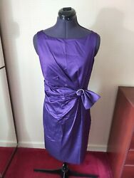 Hobbs Cocktail Purple Silk Blend Shift Dress with Buckle Size 10 *FREE POSTAGE* GBP 13.00