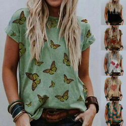 Summer Women Crew Neck Blouse Short Sleeve Floral T Shirt Casual Loose Tunic Top $15.21