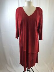 Red Cocktail Dress 2 Layers Of Micro Pleats Size 18w With Shoulder Pads $17.99