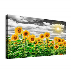 Sunflower Canvas Wall Art for Bedroom Family Kitchen Wall Decor Modern Black and $21.40