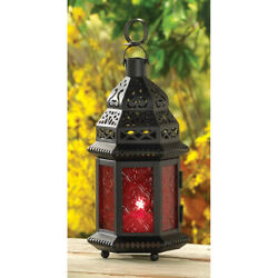 Red Glass Moroccan Lantern Candle Holder Hanging Light Home Lamp Style Metal $14.99