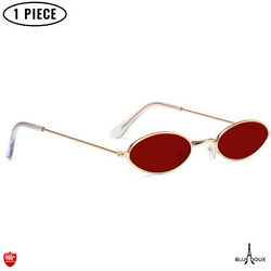 Small Oval Sunglasses Retro Vintage For Party Fashion 80s Disco Glasses Red $8.97