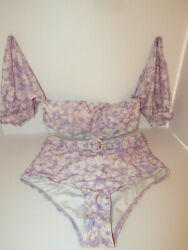 BIKINI M 8 PEONY FLORAL SLEEVE DETACHABLE FREE PEOPLE BELT SWIMWEAR NEW TAG $85.50