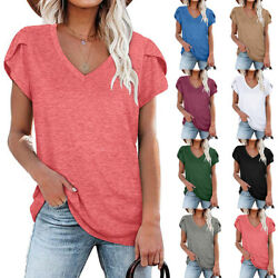 Summer Women Casual Solid Blouse V Neck Short Sleeve T Shirt Loose Fit Tunic Top $15.21
