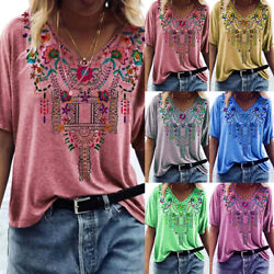 Women Casual Floral Tunic Printed Blouse V neck Short sleeve T shirt Loose Tops $15.07