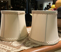 PAIR Vtg Cream Pink Green Trim Drum Bell Bedroom Lamp Shade Clip on 7 1 2 x 8quot; $49.95