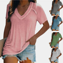 Women Casual Tunic Loose Plus Size Blouse V neck Short sleeve Solid T shirt Tops $15.11