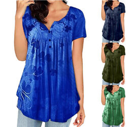 Women Casual Summer Crew Neck Short sleeve Printed Blouse Tops Plus Size T shirt $15.28