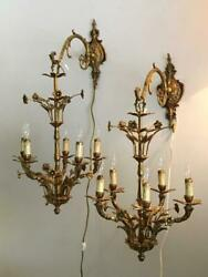 ANTIQUE VTG FRENCH or ITALIAN BRASS FLOWERS CHANDELIER SCONCE WALL LAMP PAIR $1200.00