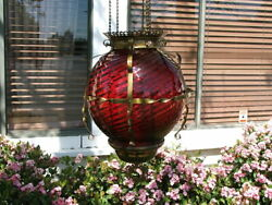 Antique GWTW Victorian HANGING HALL or ENTRY LAMP Ruby Red Swirled Art Glass $295.00