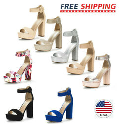 Womens High Chunky Platform Heel Open Toe Ankle Strap Stiletto Pumps Sandals US $26.99