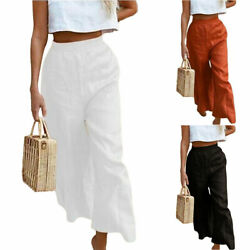 Women Summer High Waisted Wide Leg Long Pants Baggy Loose Casual Beach Trousers $18.04