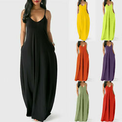 Women Summer V Neck Tank Long Dress Casual Solid Pocket Loose Party Maxi Dress