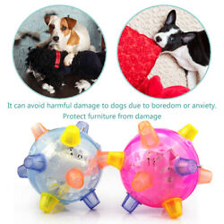 Jumping Activation Ball for Dogs Music LED Bouncing Pet Ball Toys Random #VIC