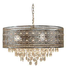 Brielle 3 Light Silver Chandelier with Polished Nickel and Crystal Shade $165.99