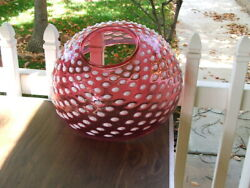 14quot; Cranberry Opalescent Hobnail VICTORIAN Hanging LAMP SHADE GWTW Parlor Oil $1500.00