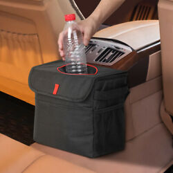 Portable Car trash Can with Lid Hanging with Garbage Bag Waterproof amp; Leakproof $12.79