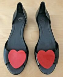 MEL BY MELISSA BLACK PEEP TOE FLATS W RED HEARTS RUBBER 10M USA 41 42 EUR $30.00