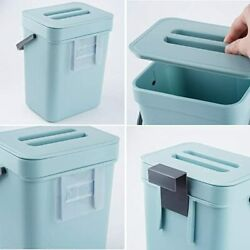 Hanging Small Trash Can with Lid Under Sink for KitchenKitchen Compost BinBlue $25.99