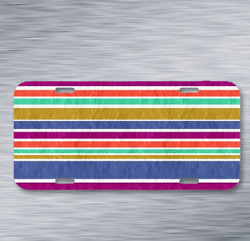 Background Stripe Colorful Rustic On License Plate Car Front Auto Tag $10.99