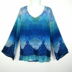 One World Live and Let Live Woman#x27;s M Blue Long Flare Sleeve Top Boho Medium $11.00