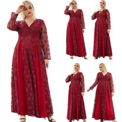 Dubai Abaya Eid Women Lace Floral Dress Boho Beach Party Gown Kaftan Casual Robe $52.75