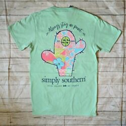 NWT Simply Southern quot;Always Stay On Pointquot; Women#x27;s Sz. Small Light Green T Shirt $12.98