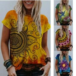 Summer Women Flower Printed Short sleeve Crew Neck Loose Casual Blouse T shirt $15.22
