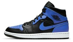 Air Jordan 1 Hyper Royal Retro Mid Black Blue 554724 077 $147.00