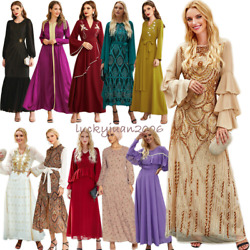 Abaya Kaftan Muslim Women Maxi Dress Embroidery Ramada Party Gown Dubai Islamic $41.88
