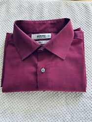 Murano Mens Dress Shirt Size Medium Maroon Long Sleeve Slim Fit $10.00