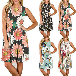 Summer Womens Floral Dress Beach Sundress Sleeveless Mini Dress A Line Dresses $17.39