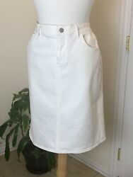 Old Navy Denim Skirt Size 12 Off White Stretch High Rise Knee Length Straight $16.95