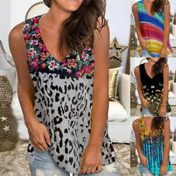 Summer Women Casual Tank Top V Neck T Shirt Sleeveless Blouse Floral Loose Tunic $14.29