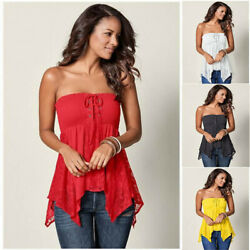 Summer Women Sexy Club Bra Top Lace Party Tunic Solid Loose Holiday Blouse $18.49