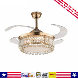 42quot; Gold Invisable Ceiling Fan Lamp Remote LED Crystal Lighting Chandelier $140.60