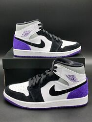 Nike Air Jordan 1 Mid SE Retro Varsity Court Purple 852542 105 Men#x27;s Size NEW
