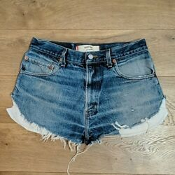 Levis 517 Womens Cut Off Frayed Distressed Button Fly Shorts $37.00