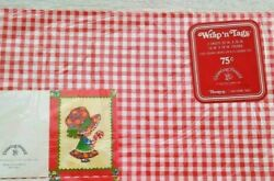 VTG GIFT WRAP Wrapping Paper Red White Checked Checkered Gift Tags Girl NOS NIP $5.50