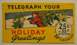 Western Union RARE telegraph poster stamp 1st variety Holiday w two prices $39.99