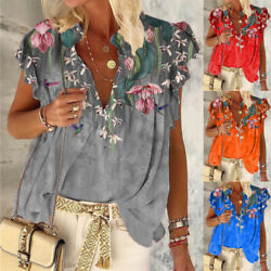Womens Summer V Neck Short Sleeve T Shirt Tee Floral Print Plus Boho Blouse Tops $15.18